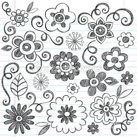 Flowers Sketchy Notebook Doodles Vector Design Elements — Imagen vectorial #9263830