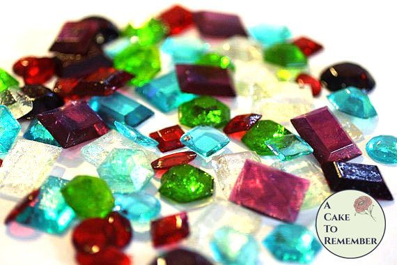 50 edible sugar gems for cake bling. Assorted by ACakeToRemember
