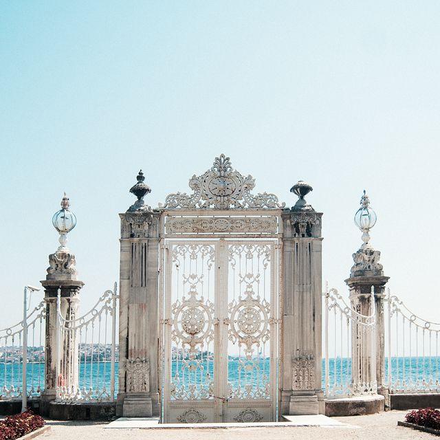 Beautiful seaside wrought-iron gate.
