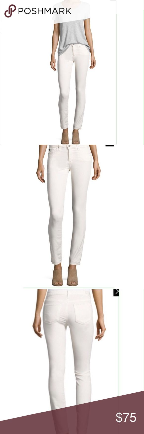 """AG The Prima Mid-rise cigarette jeans AG The Prima Mid-rise cigarette jeans. Inseam 30"""", 26R, color white. EUC Ag Adriano Goldschmied Jeans"""
