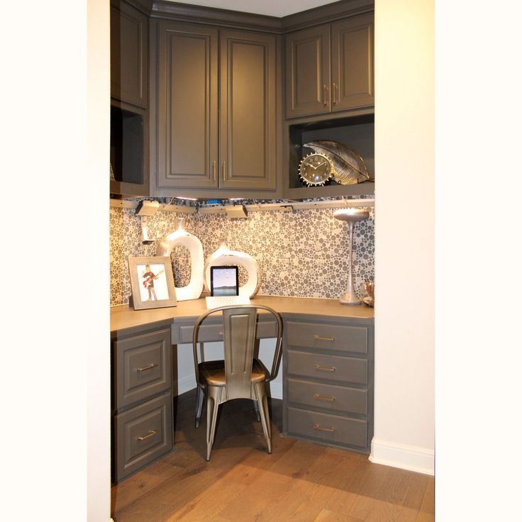 Built In Corner Desk Study Area By Burrows Cabinets   Central Texas  Builder Direct Custom Cabinets