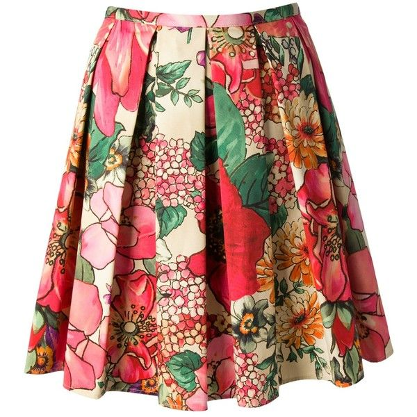 RED VALENTINO pleated floral skirt