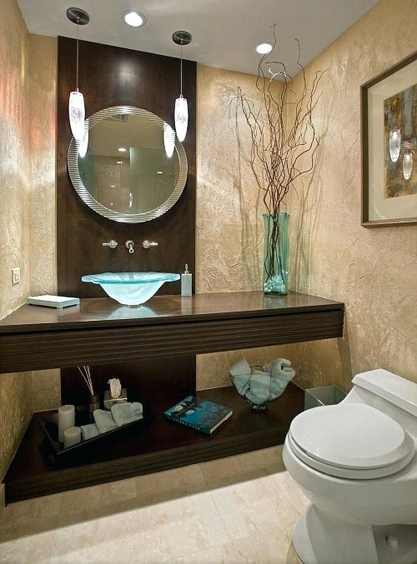 Turquoise And Brown Bathroom Guest Bathroom Powder Room Design Ideas Photos Turquoise Bathroom Turqu Guest Bathroom Decor Elegant Bathroom Brown Bathroom Decor