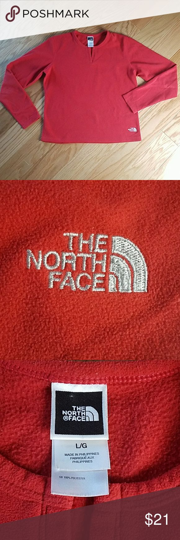 The North Face Ladies Fleece Size Large  Excellent like new condition  21'' from armpit to armpit  23'' in back from center of neck opening to bottom  20'' in front from center neck opening to bottom  Bright red orange color The North Face Tops Sweatshirts & Hoodies