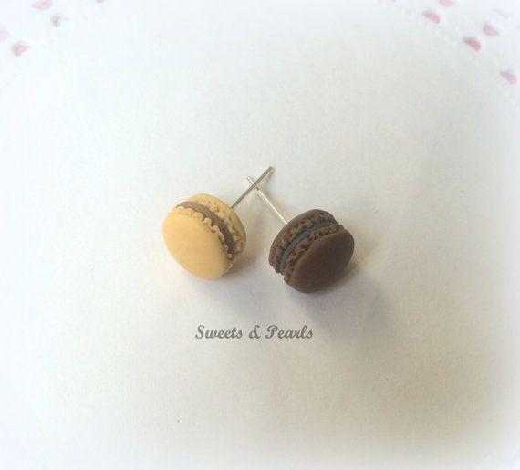 Miniature handmade Macaroon Macaron Laduree sweet cute decoden kawaii dollhouse polymer clay fimo studded earrings chocolate brown colors