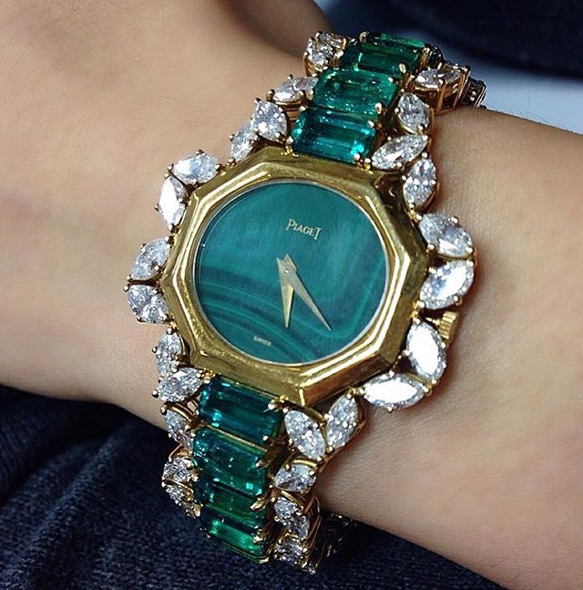 Emerald, diamond and malachite watch by Piaget