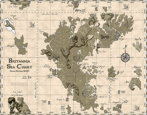 Britannia Sea Chart from Ultima Online