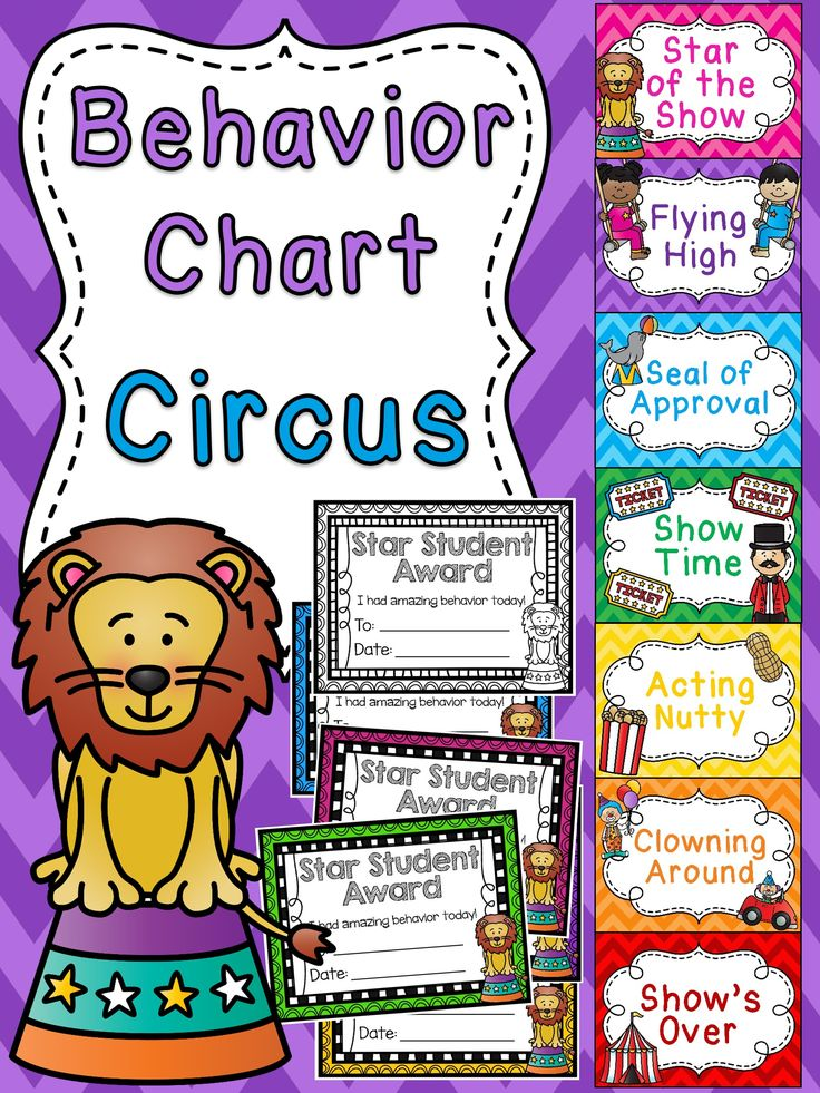 Circus theme behavior chart perfect for a circus themed classroom where kids try to become the Star of the Show! I love all these themed behavior charts - there are a ton of different ones to make the behavior clip chart fun