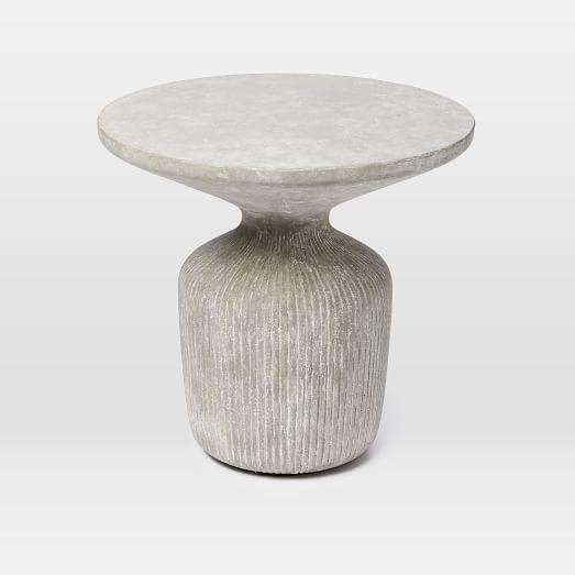 "$229 ($190 after discount) Tambor Concrete Outdoor Drum Side Table | west elm. 52 lbs. real concrete. 21"" diameter. 20"" High"