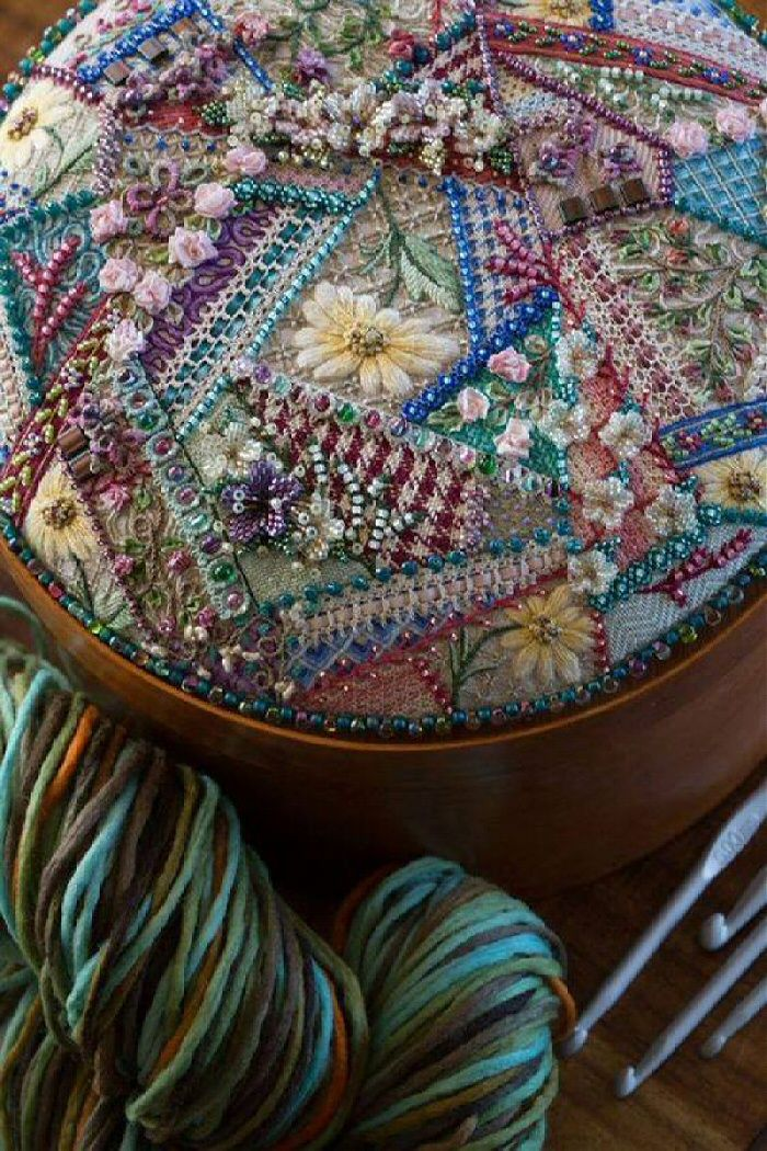 I ❤ crazy quilting, beading & ribbon embroidery . . . Hand Stitched Crazy Patchwork Fine Needlework ~By Hazel Blomkamp.