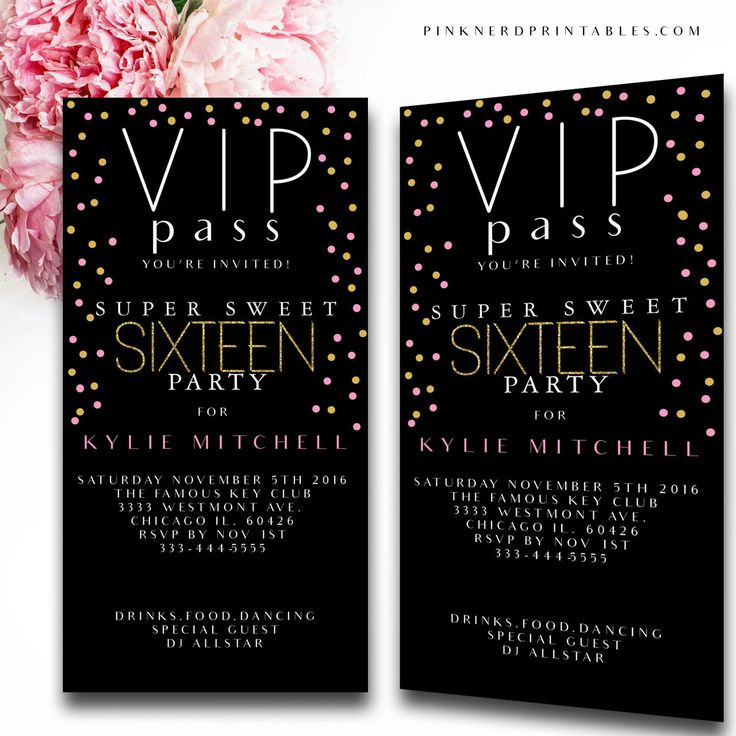 Sweet 16 birthday invitation ticket , Vip pass birthday invitation ticket - Pink…
