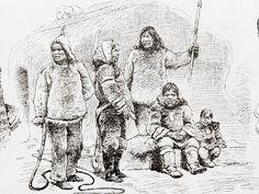 Labrador Inuit in front of a hut - illustration published in Prague's Svetozor weekly newspaper, 1880.