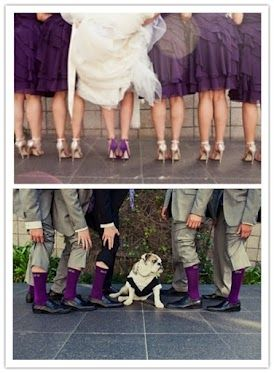 This is EXACTLY what I plan on doing , same colors and all! Nude/champagne heels for the maids, purple for me and the groomsmen's socks matching the maids dresses