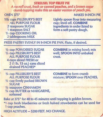 Pillsbury Streusel Top Peach Pie