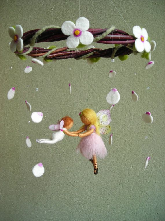 "Mobile ""A ballet scene with two fairies"" - Waldorf inspired, needle felted, by Naturechild"