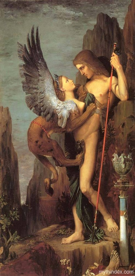 Im so getting a tattoo of the Sphinx climbing up my left inner calf.      Oedipus  the Sphinx, by Gustave Moreau (1826-1898), French Symbolist    #inspiration #painting #mythology #myth #greek #tattoo #tattoos