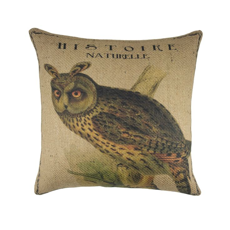 Owl Pillow, Burlap Throw Pillow, Cabin Rustic, Shabby Chic  This pillow is handmade with natural burlap fabric. The fabric for this pillow is carefully printed in our studio located in Gibsonton, Florida.   The back of this pillow reverses to solid natural burlap with a zipper enclosure.  Please se