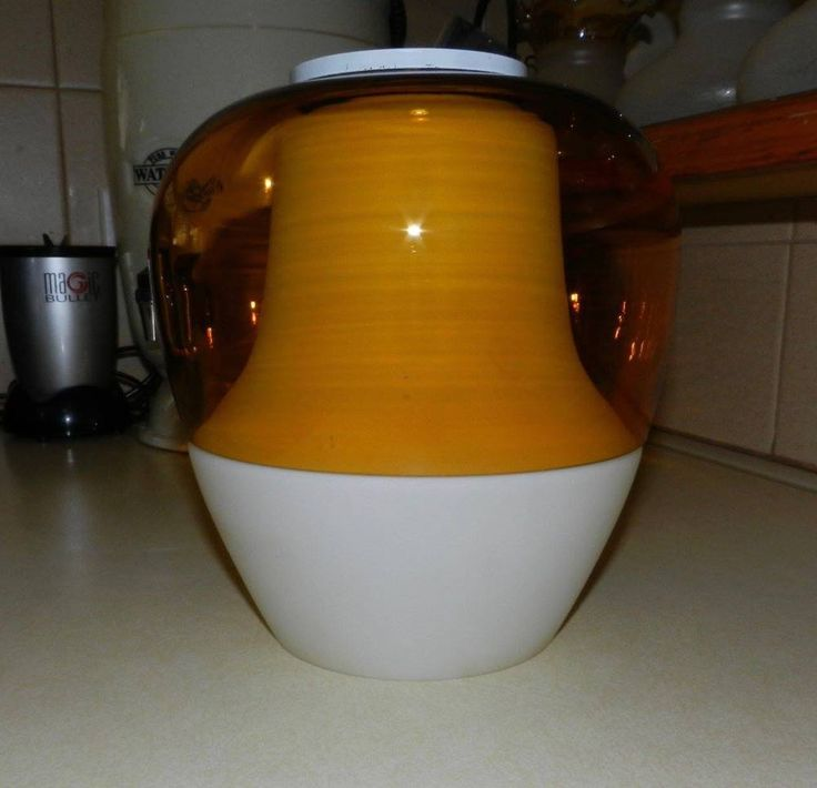 2 x Large White and Amber Glass Light Shades