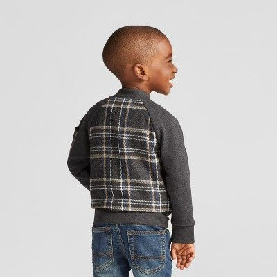 Toddler Boys' Plaid French Terry Bomber Jacket - Cat & Jack Gray - 3T