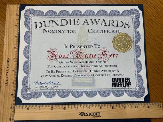 Customizable 10 Dundie Award Nomination Certificates