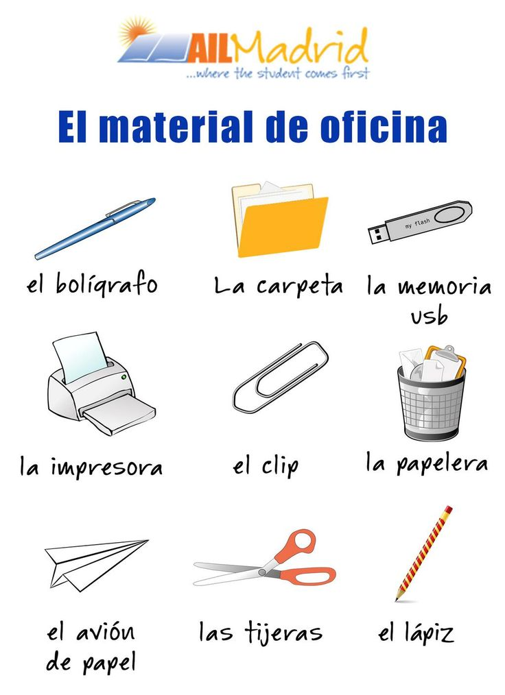 El material de oficina espanol languages pinterest for Oficina en ingles