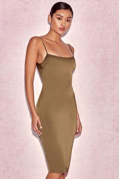 8ca5b223ed1a Clothing : Bodycon Dresses : 'Mischa' Khaki Fitted Satin Slip Dress ...