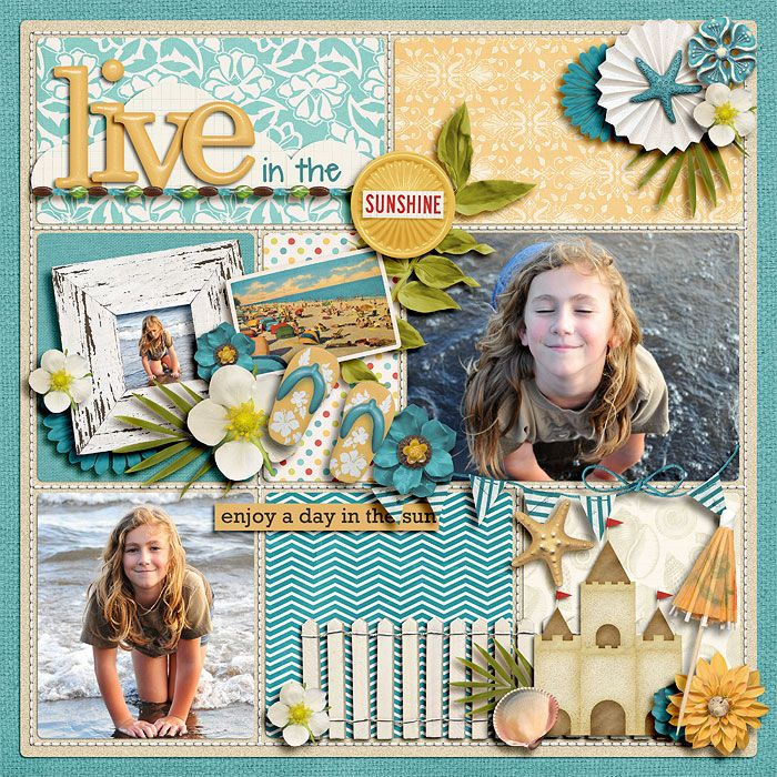"1. Kit: ""Everyday Storytelling: Summer"" by Kristin Cronin Barrow and Jenn Barrette  2. Stitching from Designer Digitals"
