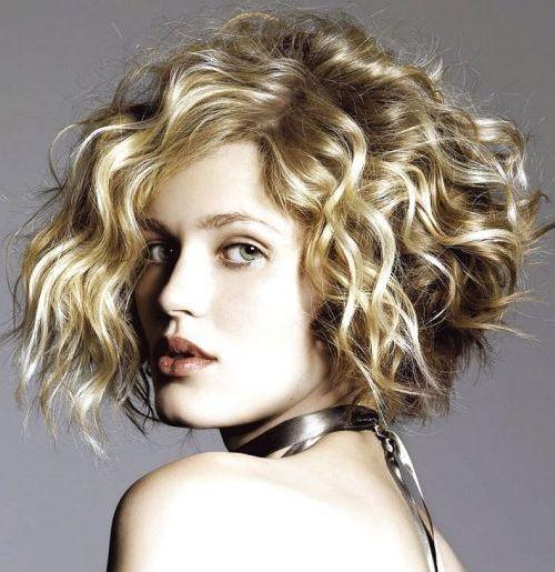Blonde Curly Chin Length Bob