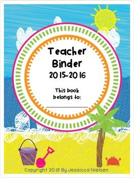 Teacher Binder 2015-2016 is an beach themed 47 page document that includes monthly calendars, scheduling templates, meeting notes pages, assessment pages, title pages, and everything else you need to keep you organised for the school year. *Please note: This teacher binder can be re downloaded from year to year with updated information without purchasing again.