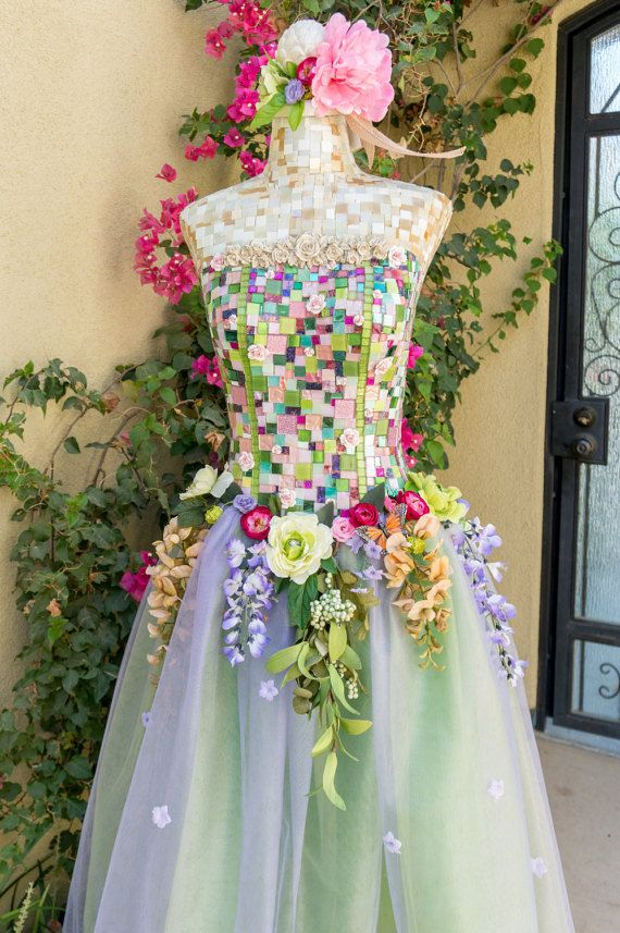 "Women's Dress Form MOSAIC MANNEQUIN ART ""Garden Nymph"" store display, ballet dancer, ballerina, pink flowers with rhinestone accents"