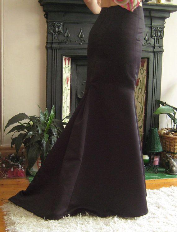 Black Fishtail Skirt. UK Size 12. by ValerieLADesigns on Etsy, $255.65