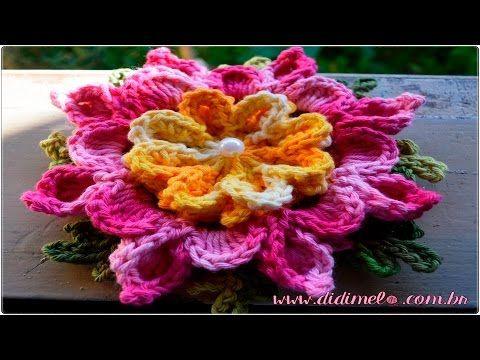 """Flor Rosa Paixão #Coleção """"Minhas flores em Crochê"""" - YouTube"""