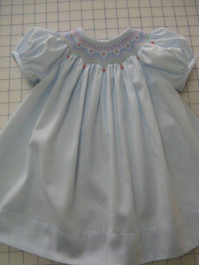 """Southern Matriarch: """"It is made using the pattern for Beginnings from Australian Smocking and Embroidery Issue number #73. Smocked with Rainbow Hearts by Ellen McCarn."""""""