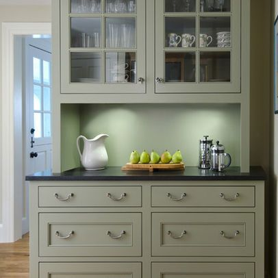 Built In China Cabinet With A Countertop That Matches Kitchen And Can