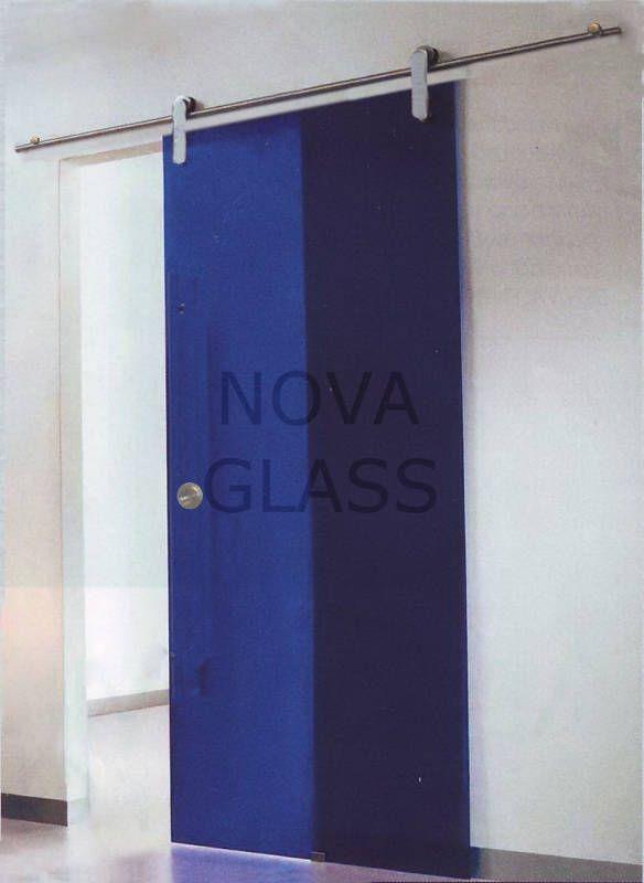 Συρόμενη γυάλινη πόρτα 10mm 80Χ200 μπλε