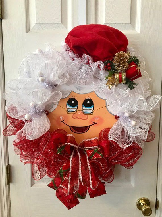 Mrs Claus Deco Mesh Wreath Christmas Home Decor