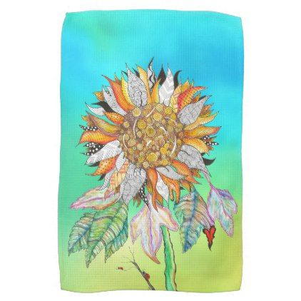 Sunflower Kitchen Towel - flowers floral flower design unique style