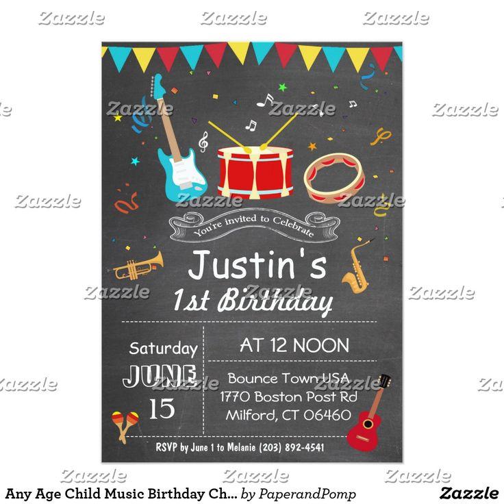 Any Age Child Music Birthday Chalkboard Invitation