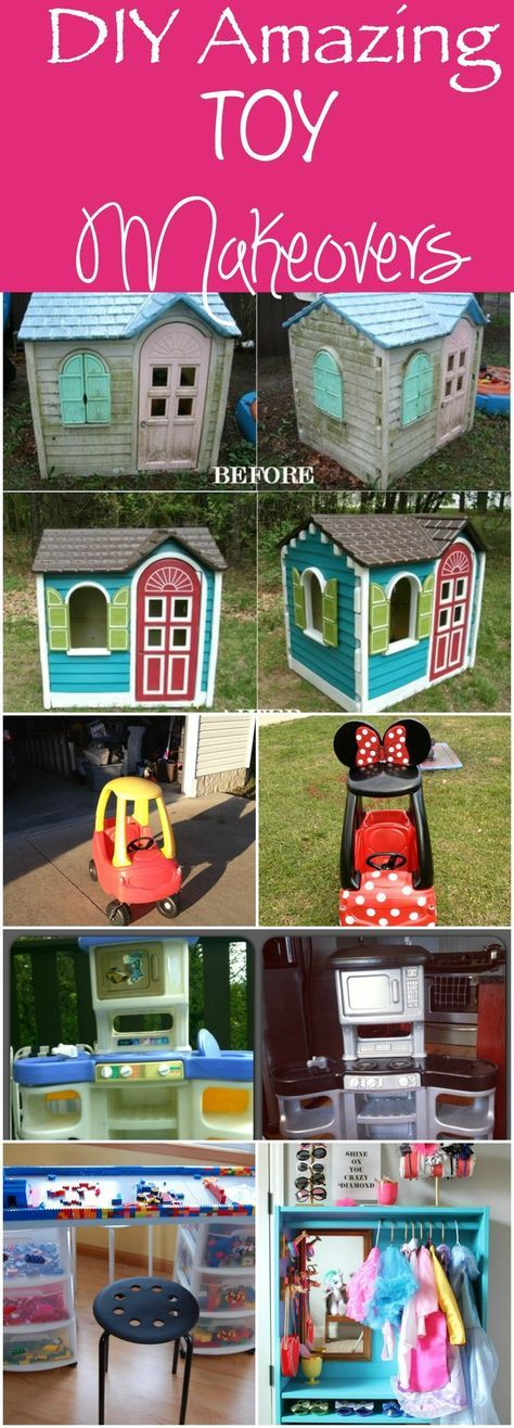 DIY Toy Makeover - take trash and make it into treasures! Playhouses, Cozy Coupes, Play Kitchens - all Great garage sale item makeovers!