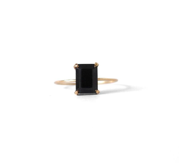Emerald Stone Ring Black Spinel - Natalie Marie Jewellery