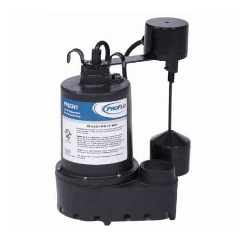 ProFlo PF92341 3/10 HP Cast Iron Submersible Sump Pump with Vertical Switch, Red rust