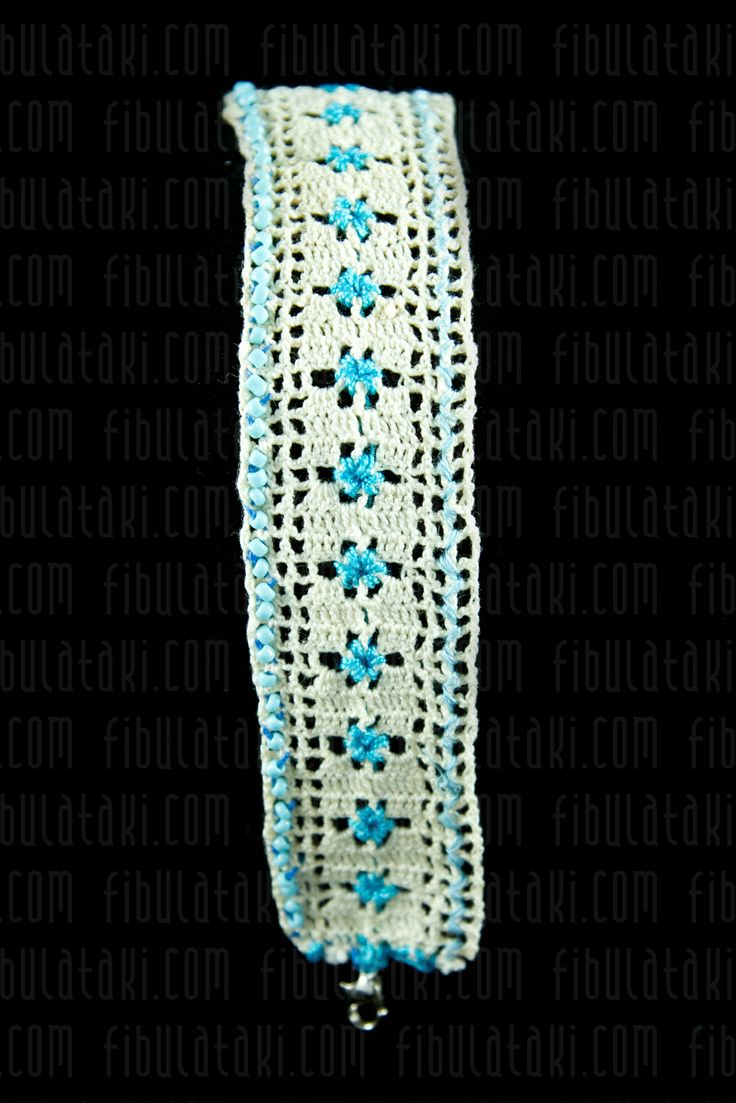 Fibula Takı - Çeyiz Sandığı Serisi / Bileklik - örgü - dantel - beyaz, mavi