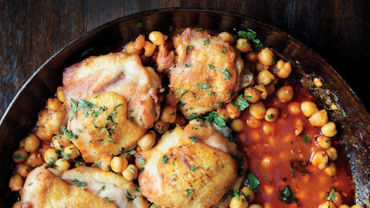 Pan roasted harissa chicken thighs with chickpeas