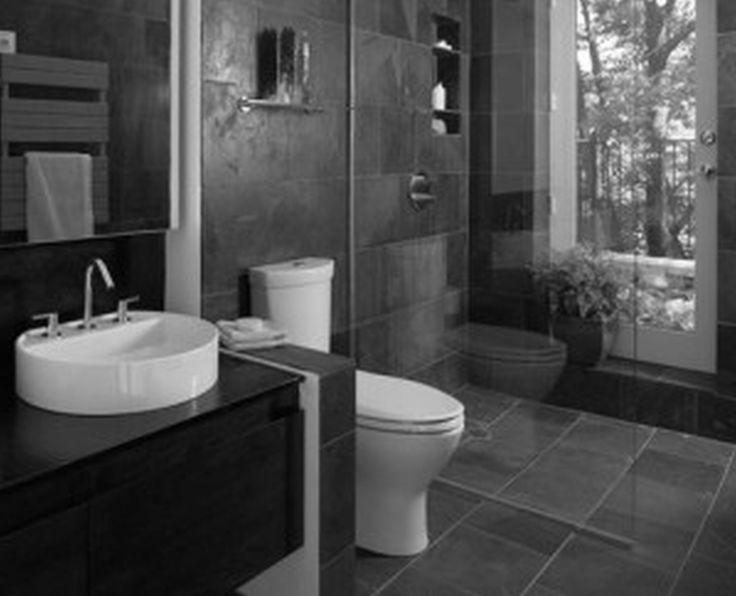Brown Hung Cabinet With Washbasin Toilet Dark Grey Ceramic Flooring Tile Glass Walls In Shower Cabin Inspiring Small Bathroom Designs