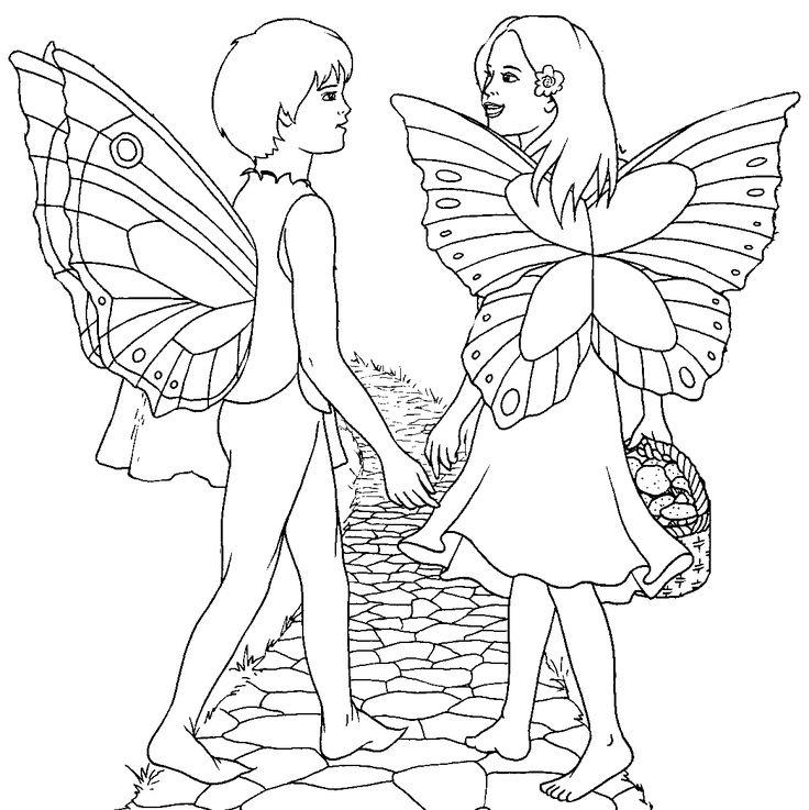 fairy couple color sheet fairies