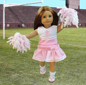 "Doll Clothes for American Girl Dolls: 6 Piece Cheerleading Outfit - ""Dress Along Dolly"" (Includes 2 Pom Poms, Cheerleading Outfit, Socks, and Cheer Shoes) by Ride Along Dolly. $15.95. Hand Made, designed especially for that special Doll in your life (Doll Not Included). Unique designs only available on Amazon.com. Fits all American Girl sized dolls of approximately 18"" tall. Go Team Go!. Includes 2 Pom Poms, Cheerleading Outfit, Socks, and Cheer Shoes. Doll Clothes f..."