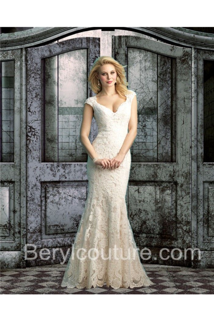 Perfect Mermaid V Neck See Through Back Cap Sleeve Champagne Lace Wedding Dress