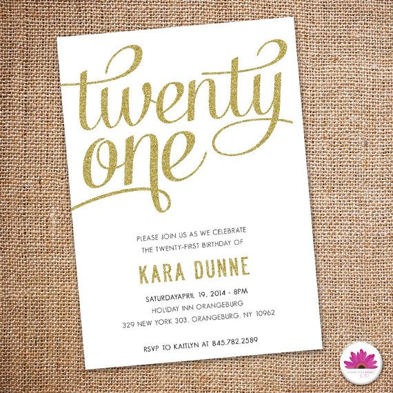 Twenty First Birthday Invitation Digital file by EventswithGrace