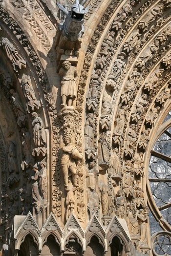 Reims Cathedral, Reims - France - Detail of sculptures on the west front. Photo Nelson Minar.