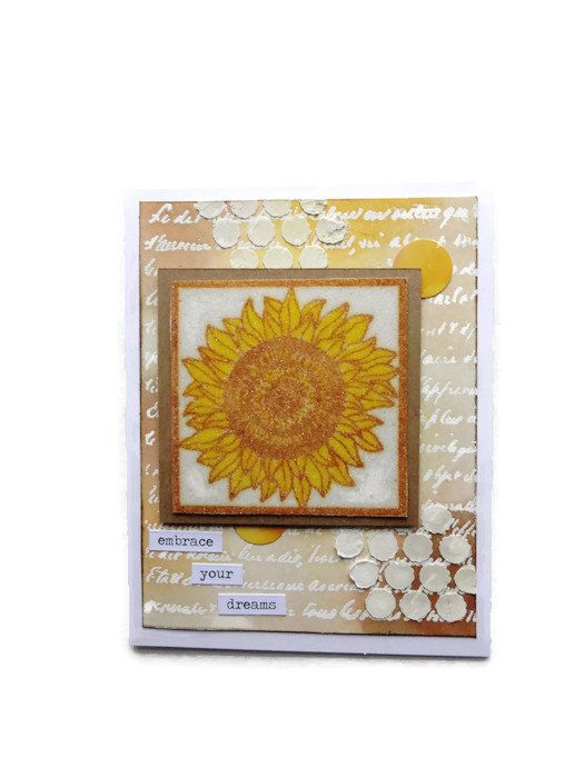 Inspirational Sunflower Card Blank by lilaccottagecards on Etsy